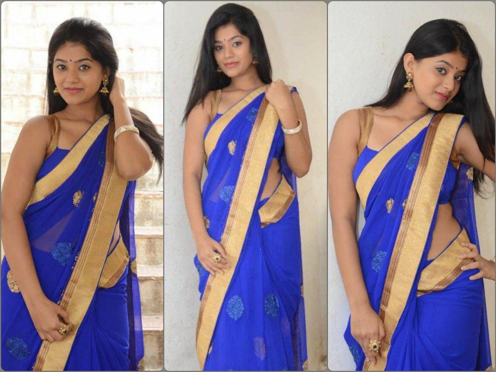 Actress Yamini Bhaskar Latest Cute Hot Exclusive Transparent Blue Saree Navel Show Spicy Photos Gallery