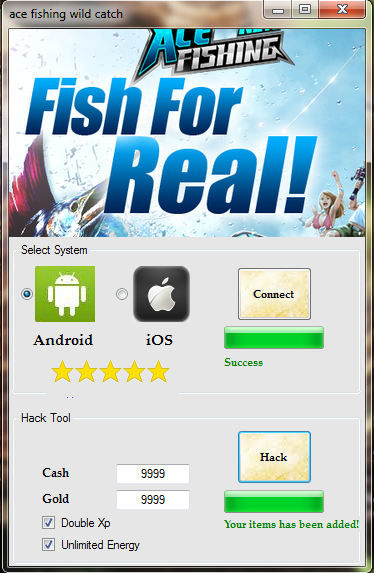 Ace Fishing Wild Catch - Hack Pack main screen