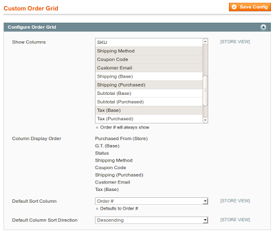 Order Grid Admin Settings