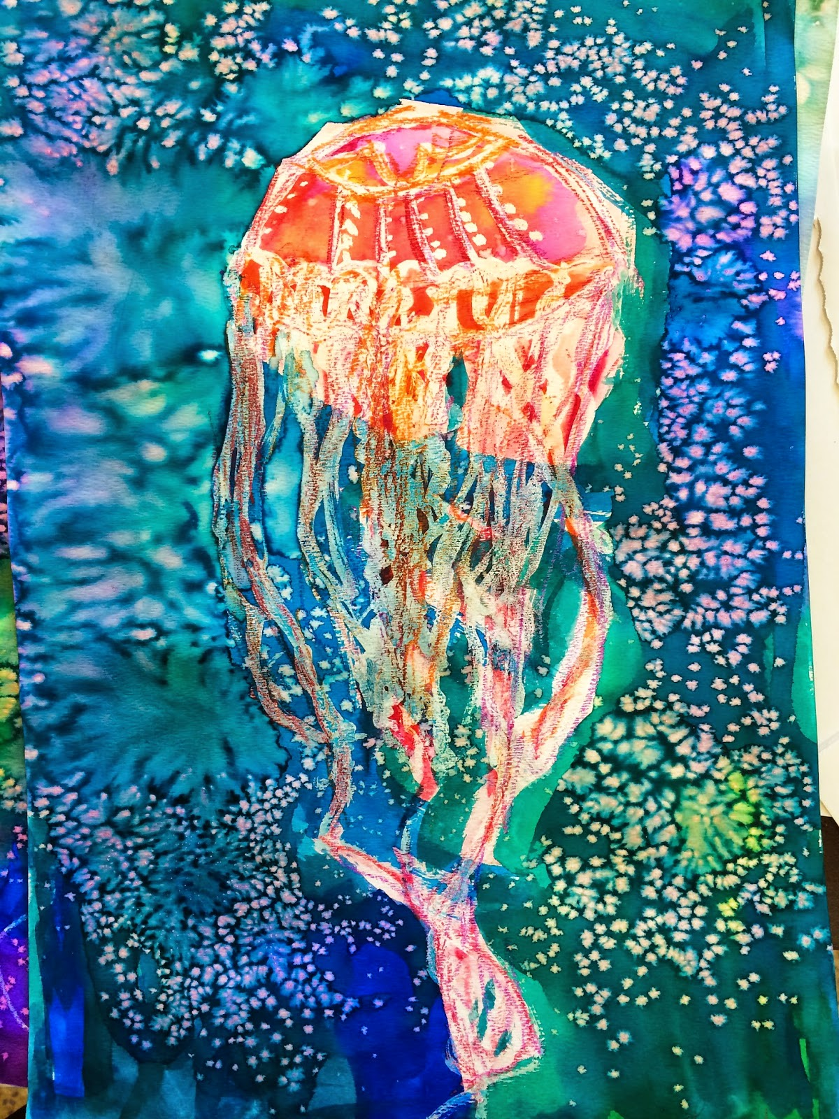 smART Class: April Showers and Jellyfish Watercolor Resist