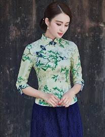2018 Colorful Design Half Sleeve Cheongsam Top