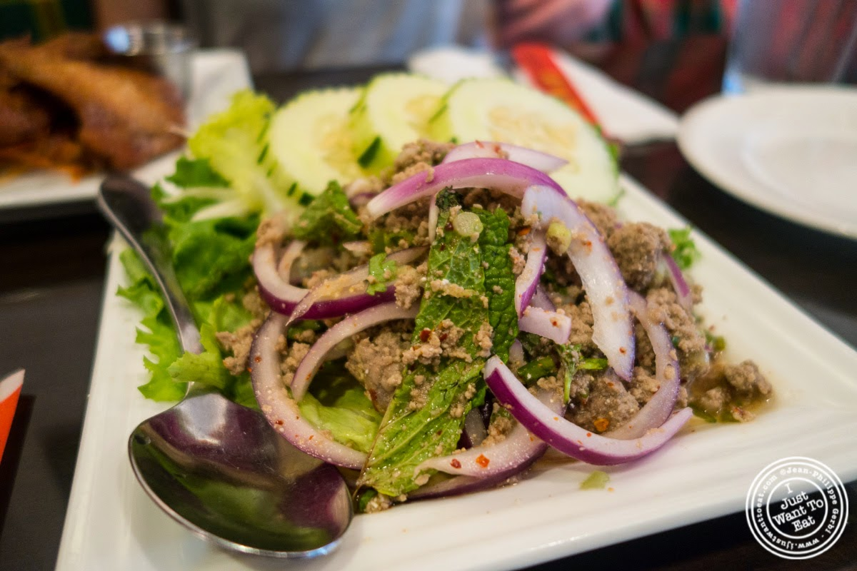 image of Nuer Larb at Larb Ubol, Thai restaurant in Hell's Kitchen, NYC, New York