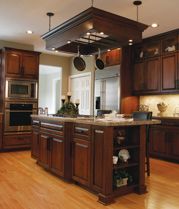 Kitchen with Dark Cabinets Light Wood Floors
