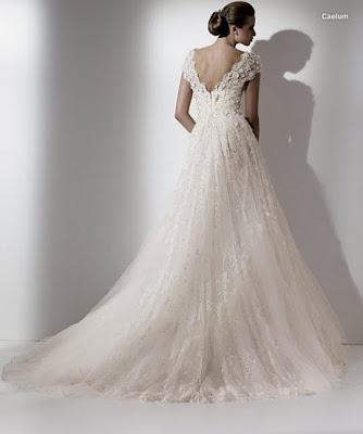 Elie Saab 39s wedding dress style Caelum is an ivory vneck neckline aline