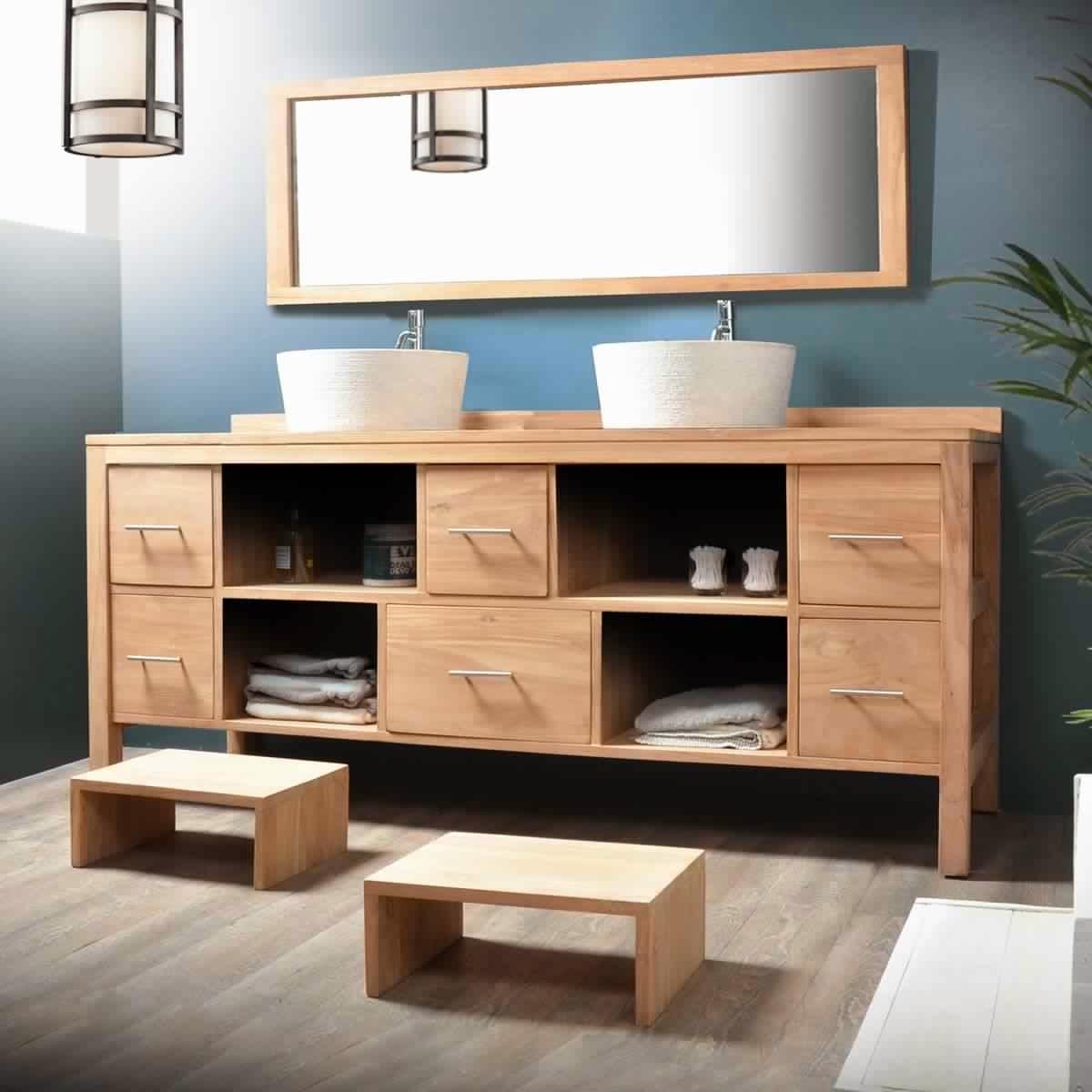 Meuble salle de bain bois 2 vasques meuble d coration maison for Meuble suspendu bois salle de bain