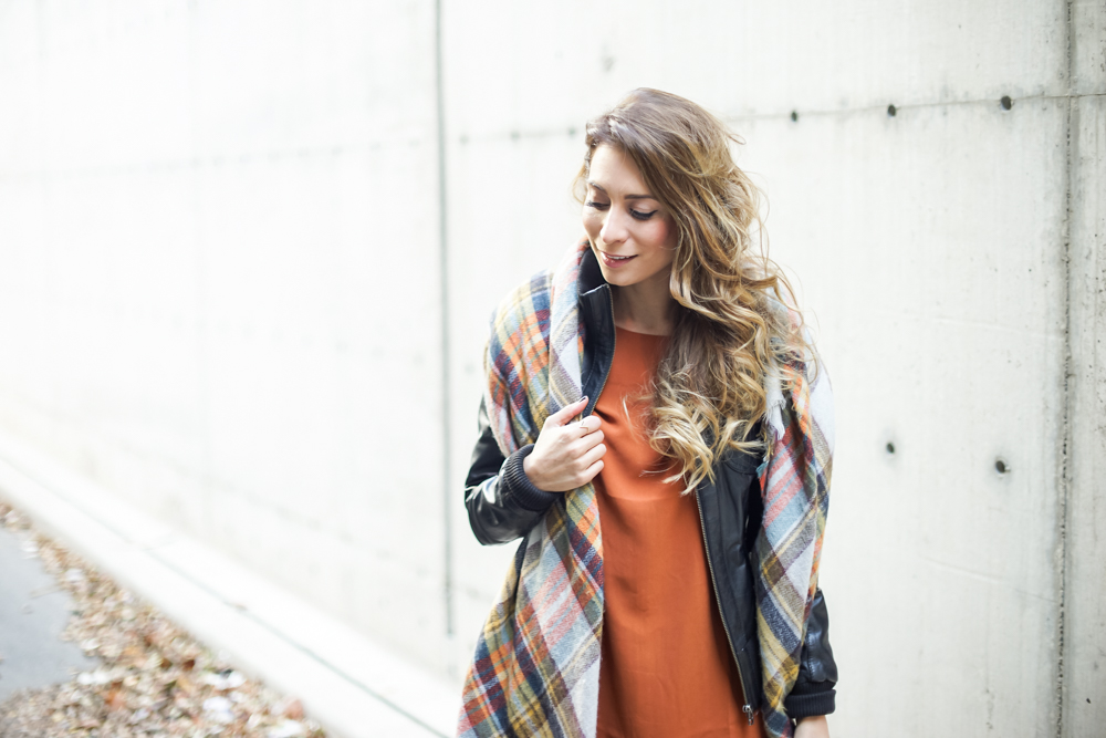zara plaid blanket scarf burnt orange dress fall outfit ootd