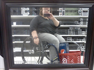 Camera phone self-portrait using one of the big mirrors in Target