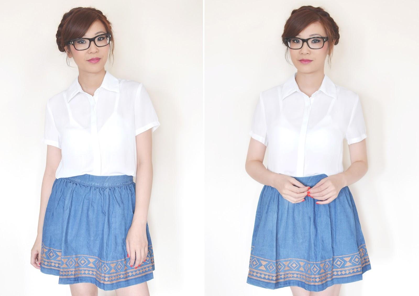 how to style a denim skirt, denim skater skirt