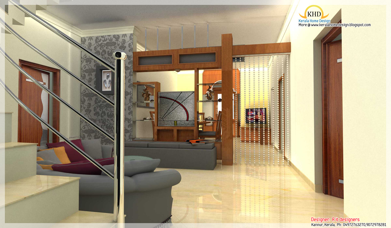 Interior design idea renderings kerala home design and for Kerala house living room interior design