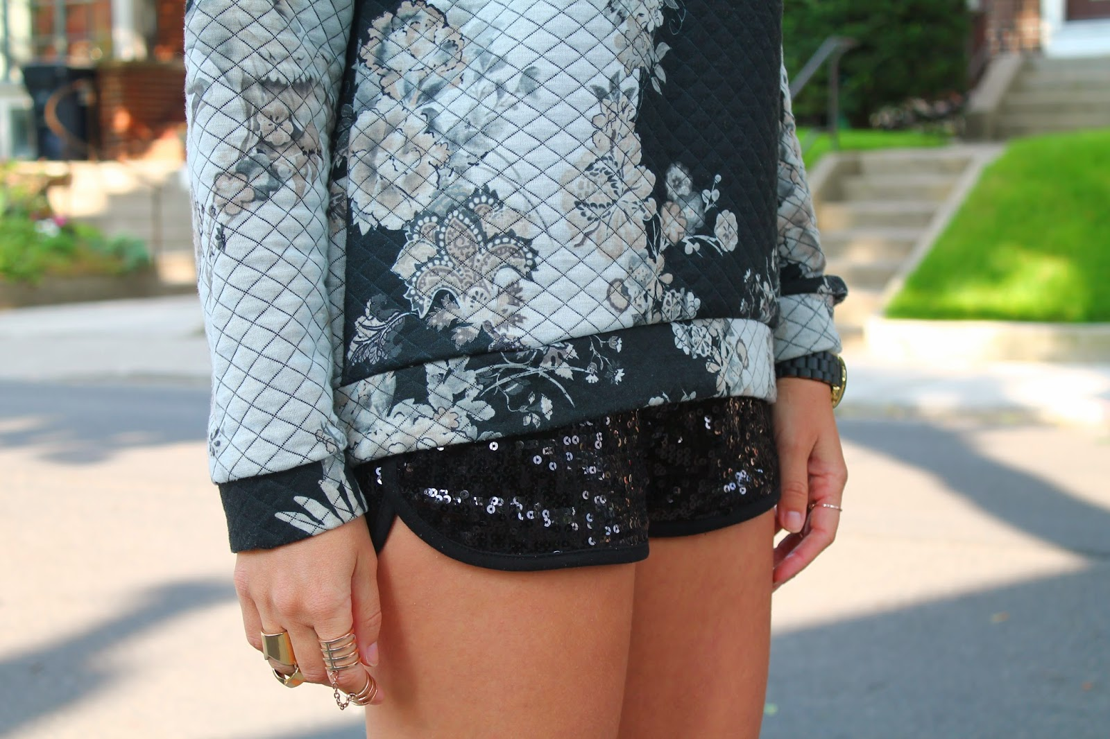 Sequin shorts, quilted sweatshirt, how to mix textures, blogerke, canadian fashion blogger, texture mixing for summer, floral print sweatshirt, toronto street style, Prada sunglasses