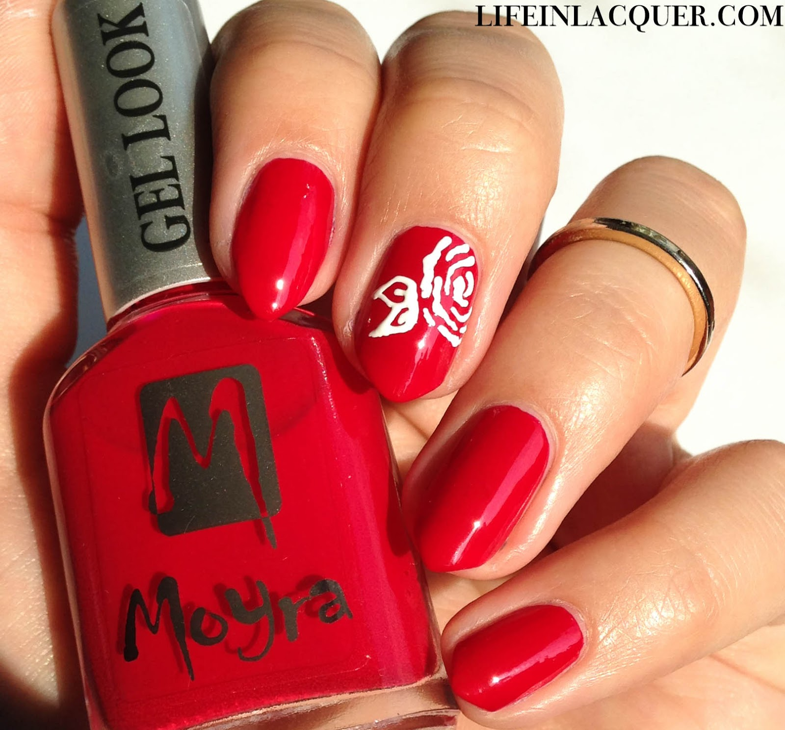 Moyra Beatrice swatch and rose nail art