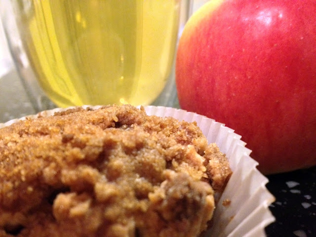 apple, muffin, tea, green tea, apple muffin, food, baking, recipes