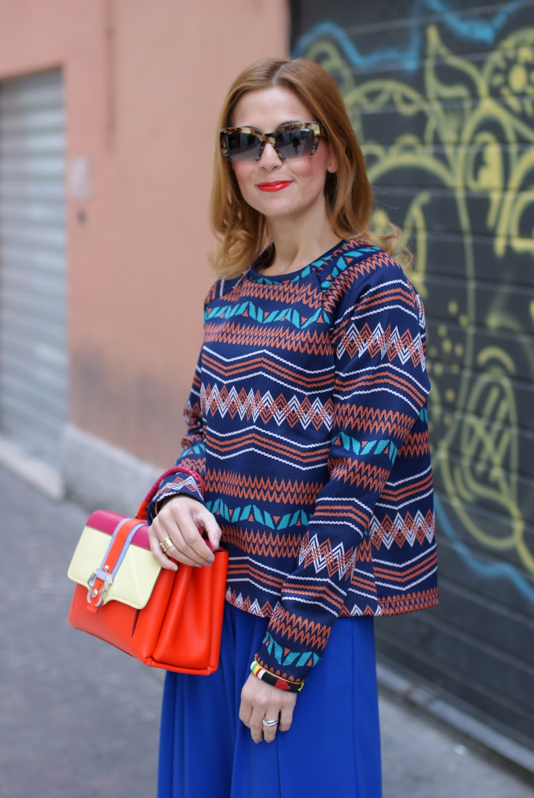 stylish and Colorful outfit with wide leg palazzo pants and Paula Cademartori Petite Faye bag on Fashion and Cookies fashion blog, fashion blogger style