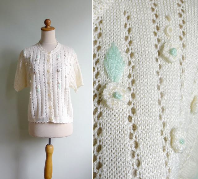 retro cream floral cardigan