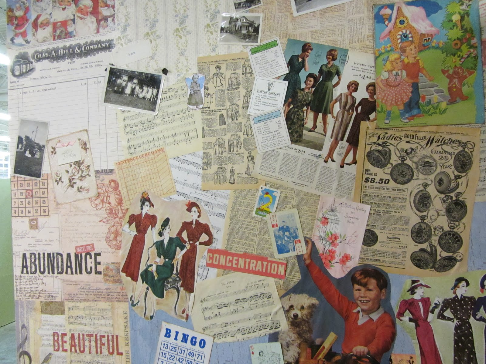 Scrapbook paper display - I Glued Old Dictionary Pages Misc Vintage Ephemera Photos And Scrapbook Paper To The Front Wall