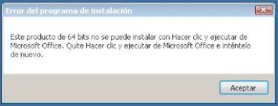 eror del programa de instalación microsoft office hacer clic y ejecutar
