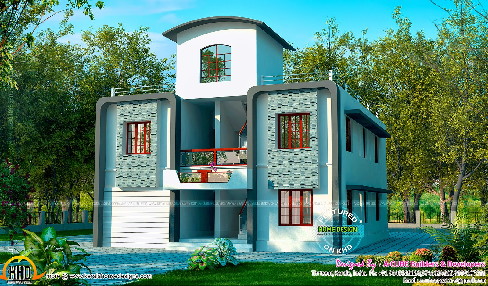 duplex villa exterior kerala home design and floor plans. Black Bedroom Furniture Sets. Home Design Ideas