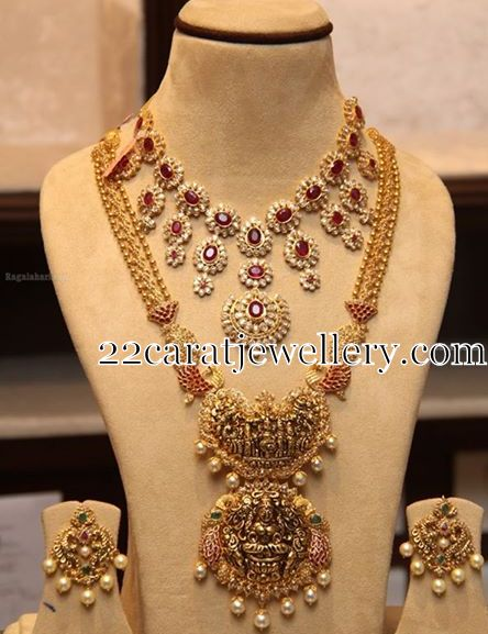 Nakshi Work Jewelry Ruby Polki Set