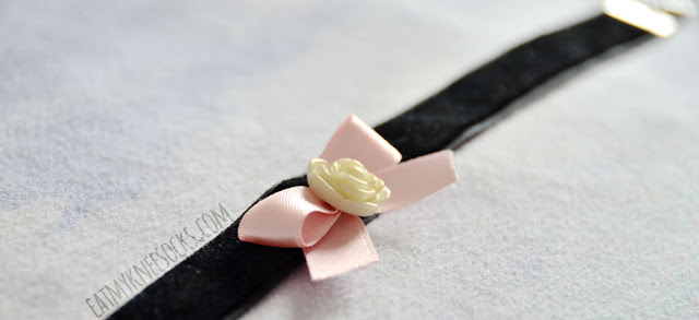 More photos of the black velvet choker with a pastel pink ribbon and cream-colored rose, coming soon to Milkstud on Etsy.