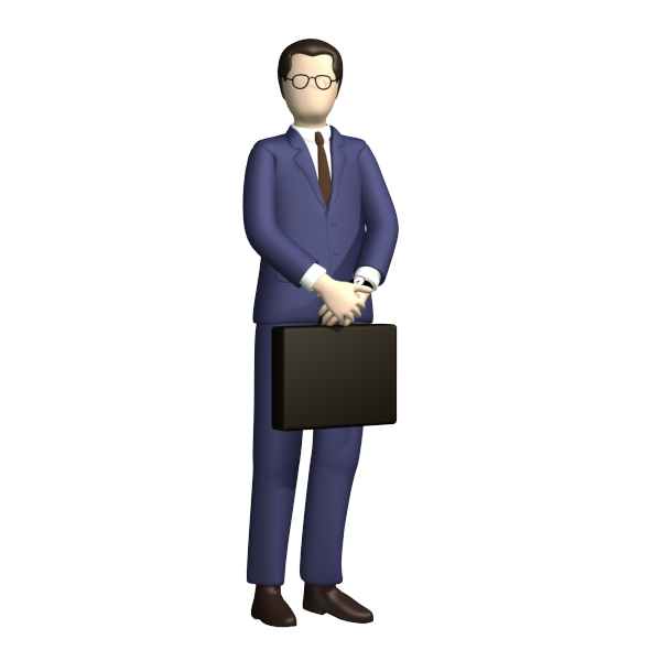 standing businessman with suitcase