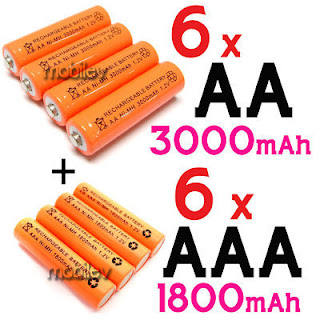 6 AA 3000mAH 6 AAA Ni-MH 1800mAH Rechargeable Battery O