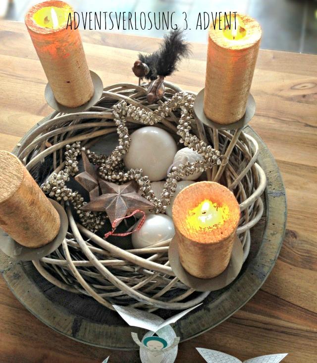 Adventskranz Kupfer weiß Natur Frühstück bei emma