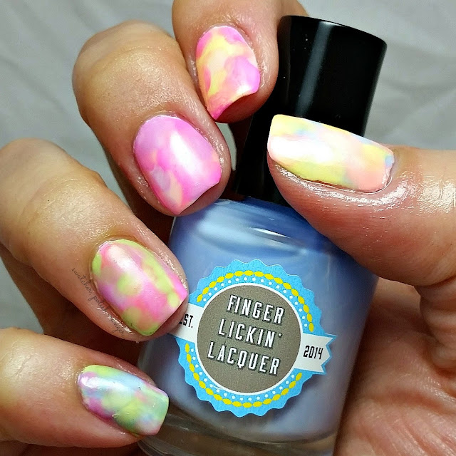 Watercolour Nails with a plastic bag using Finger Lickin Lacquer's Washed Out collection