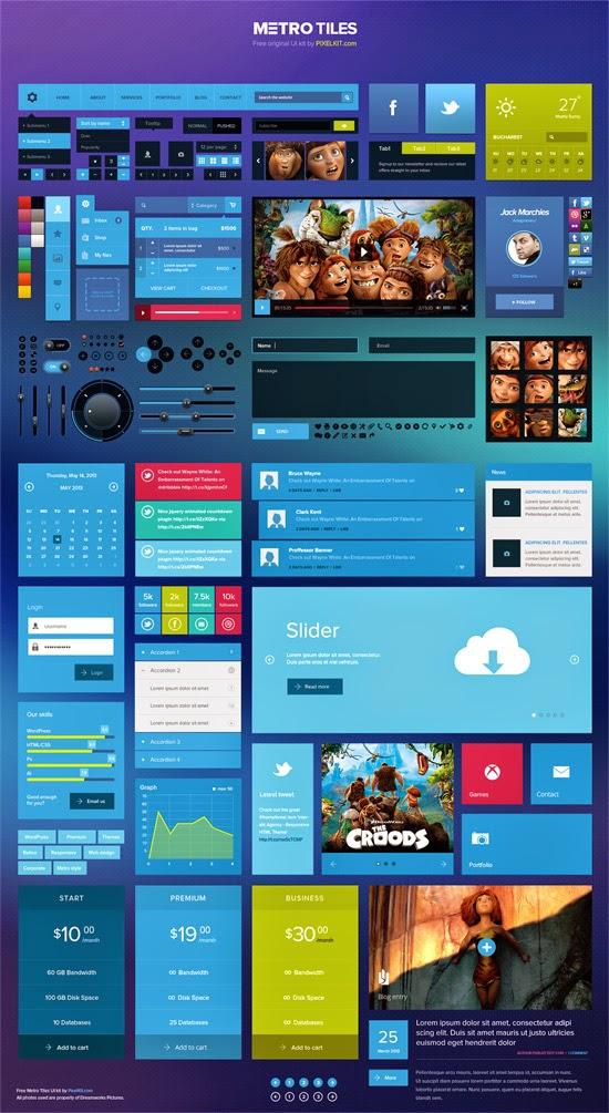 Free Metro Tiles UI Kit PSD