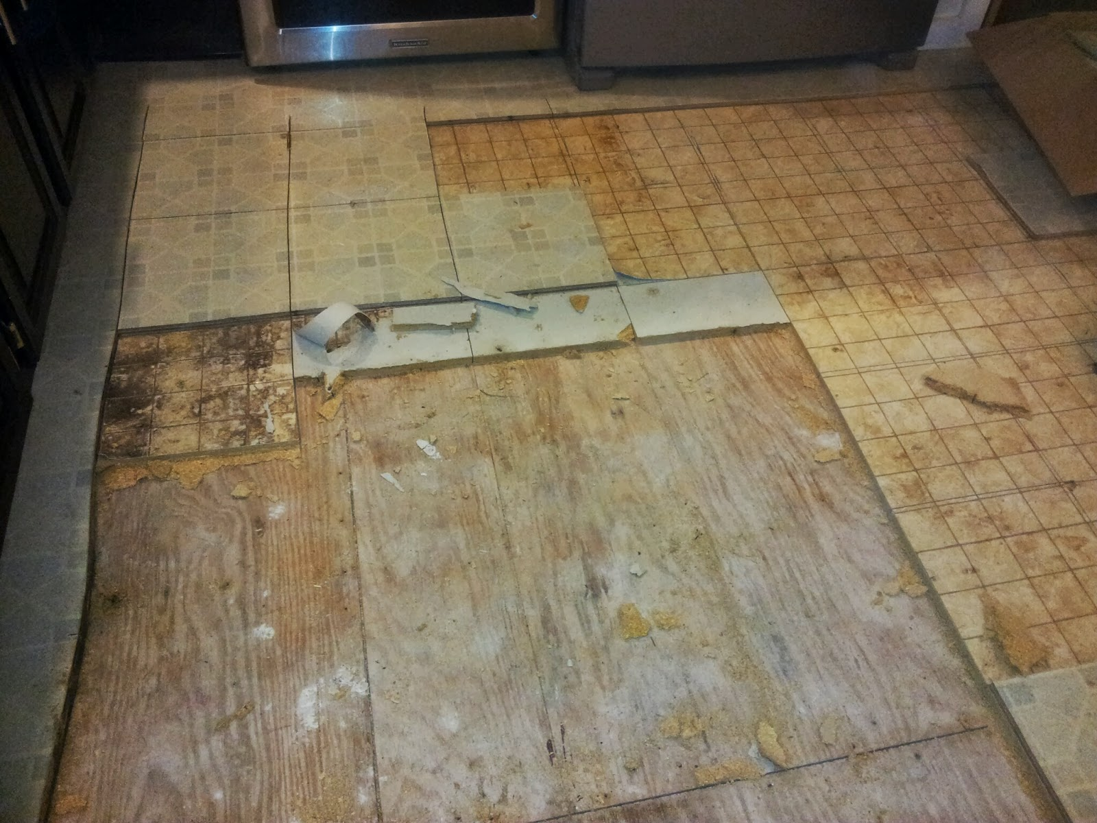 Our kitchen floor demolition has begun ian francis for Kitchen linoleum tiles