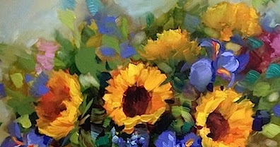 Image result for sunflowers and iris's