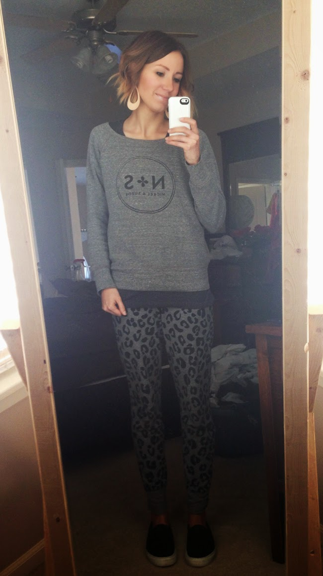 graphic sweatshirt, leopard sweats, slip on sneakers