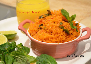 Tomato Rice, spicy rice, masala rice, red rice, ghee tomato rice, chaawal, tomato annam, thakkali annam