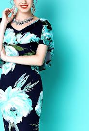 2018 Light Blue Flower Shawl OL Dress