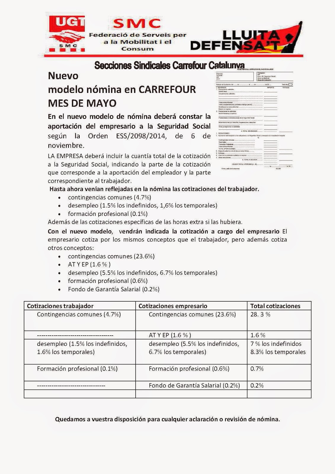 Carrefour cabrera ugt nuevo modelo hoja de nomina carrefour for Hoja nomina