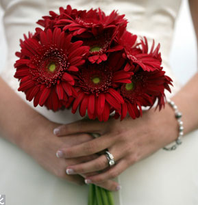 pretty red wedding flowers