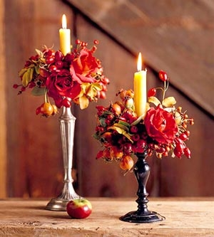Fall Silk Flower Candle Rings