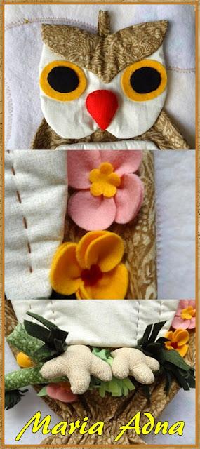 Puxa-sacos, Coruja decorativa em tecido, Decorative Owl, textile owl, Coruja-tecido