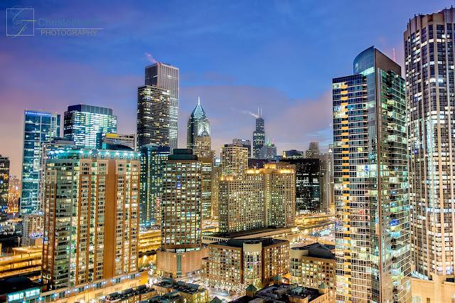 Chicago skyline at night on NYE 2013