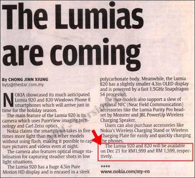 Nokia Lumia 920 & 820 - Malaysia Retail Price - RM1999 & RM1599