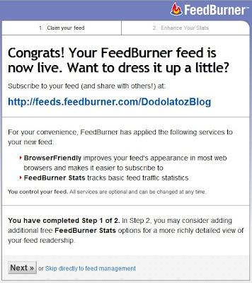 tampilan congrats pada feedburner