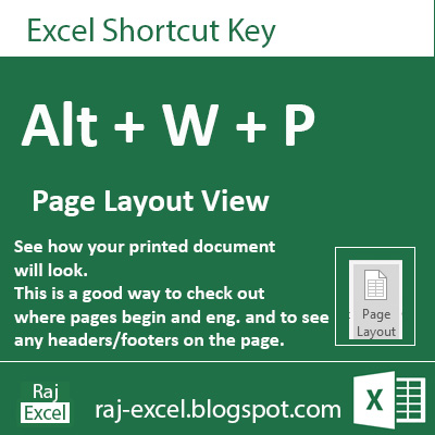 Microsoft Excel 2013 Short Cut Keys: Alt + WP (Page Layout View)