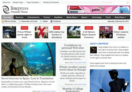 LinePress WordPress Online NewsPaper Theme By Gabfire