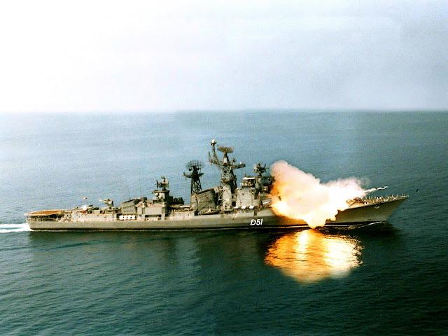 Brahmos firing by INS Rajput