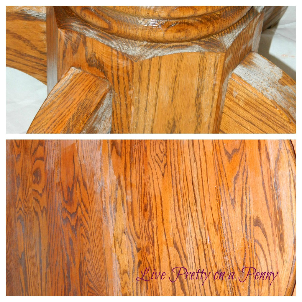 Pretty On A Penny: Refinishing An Oak Table {A Dining Room Update. Full resolution‎  portraiture, nominally Width 1024 Height 1024 pixels, portraiture with #B46517.