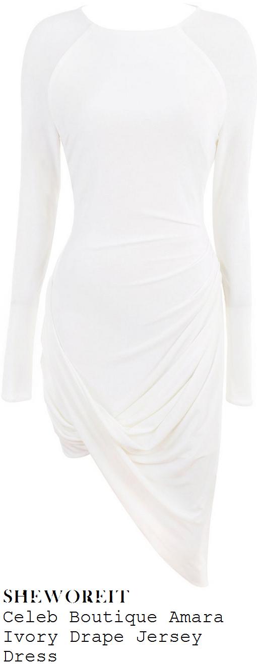 jessica-wright-white-long-sleeve-draped-asymmetric-bodycon-jersey-dress