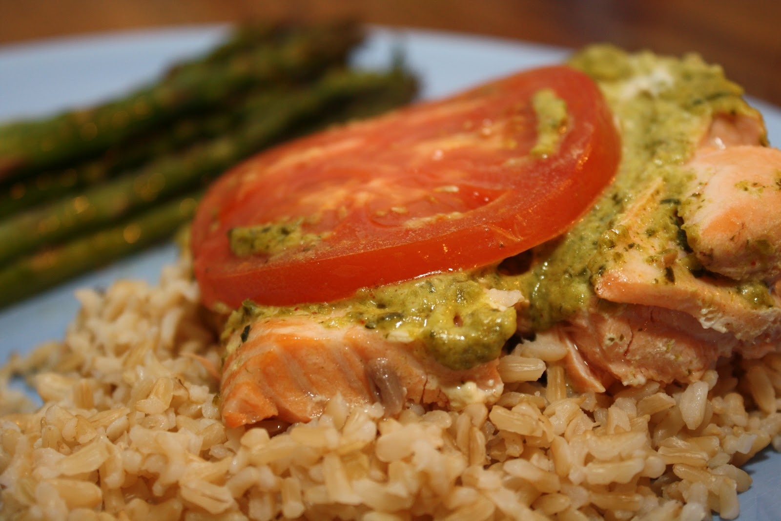 "... to 5...my life as ""Mom"": Foil-Baked Salmon with Pesto and Tomatoes"
