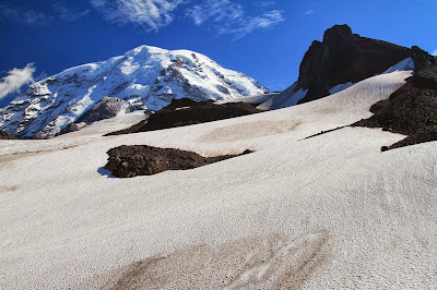 Up Flett Glacier Looking Toward Mount Rainier with Observation Rock