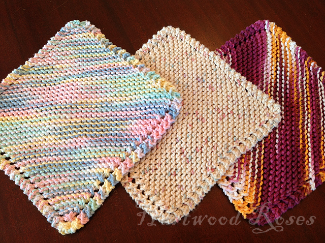 Knitting Pattern For A Dishcloth Beginners : Hartwood Roses: Feeling Crafty: Knitting Dishcloths