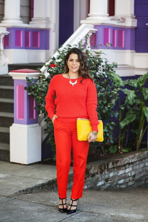 Monochromatic outfit, how to wear monochromatic, how to wear orange, orange pants, j. crew, joe fresh, orange sweater, yellow clutch, monochromatic orange outfit, wearing monochromatic, how to wear the monochromatic trend, Valentino rockstuds, Valentinos