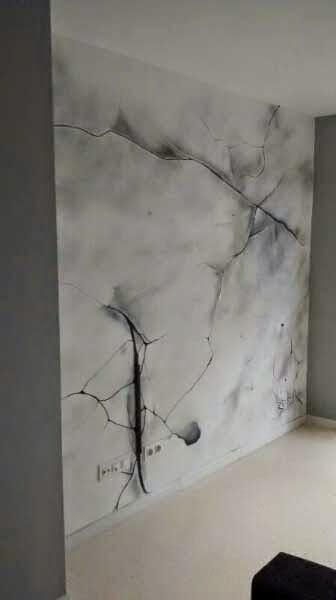 Decoración de grietas artísticas en pared